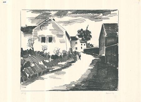 Litografia Vlaminck - La route de Nesles