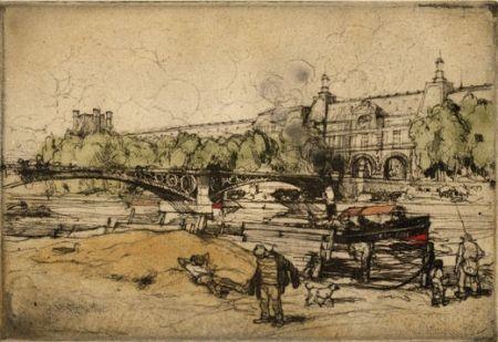 Acquaforte E Acquatinta Coussens - La Seine au Pont du Carrousel