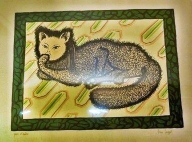 Litografia Buzzati - La signora gatta