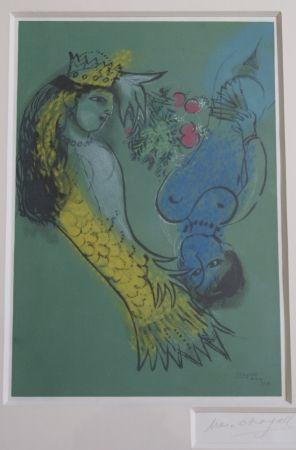 Incisione Su Legno Chagall - La Sirene