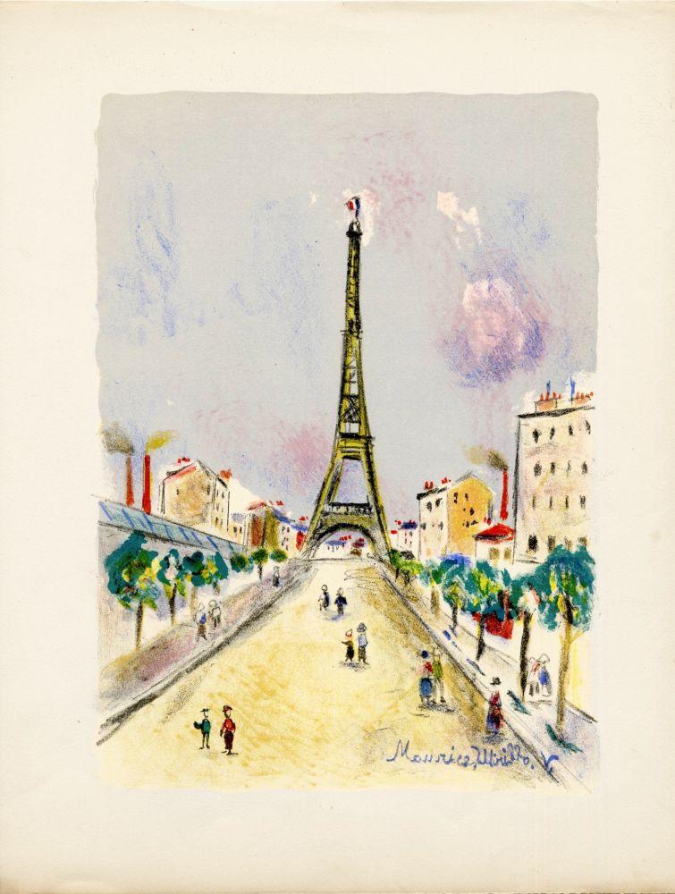 Litografia Utrillo - LA TOUR EIFFEL. Épreuve pour Maurice Utrillo (Paris, 1955)