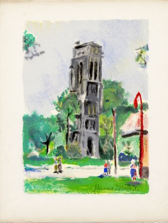 Litografia Utrillo - LA TOUR SAINT-JACQUES. Épreuve pour Maurice Utrillo (Paris, 1955)