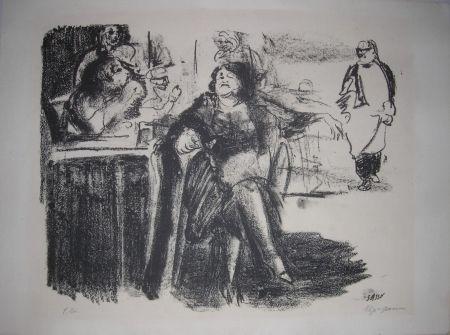 Litografia Sassu - La vecchia mondana