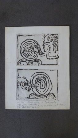 Incisione Alechinsky - Labyrhinte Et Reine ,crapaud Et Labyrinthe