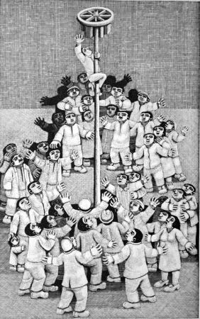 Incisione Su Legno Morena - L'albero della cuccagna