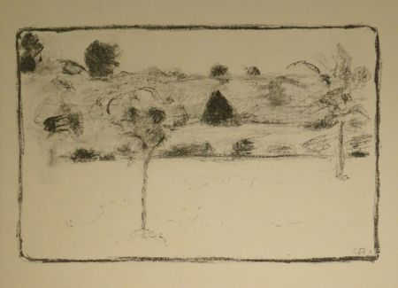 Litografia Amiet - (Landschaft mit Bäumen)