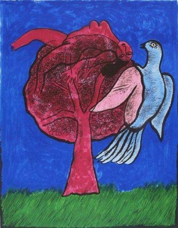 Litografia Corneille - L'Arbre Rouge