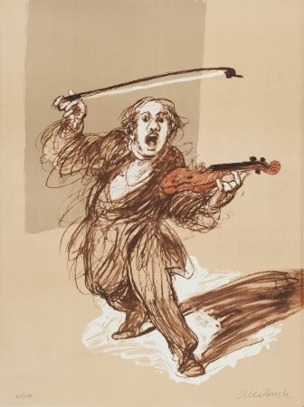 Litografia Weisbuch - L'ARCHET REBELLE lithographie de Claude WEISBUCH