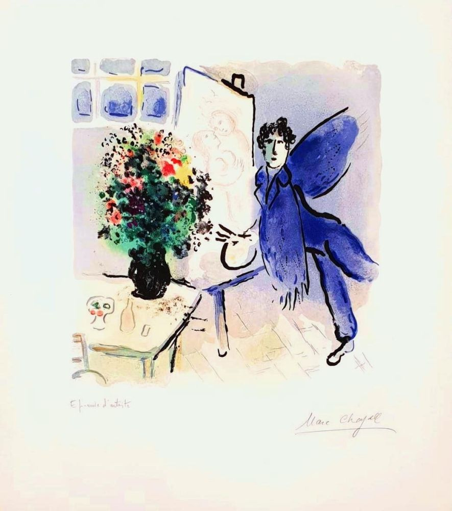 Litografia Chagall - L'atelier Bleu, The Blue Studio