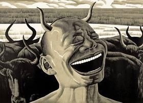 Incisione Su Legno Minjun - Laughing w/Horns
