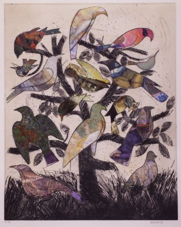 Litografia Valdés - Le arbre aux oiseaux