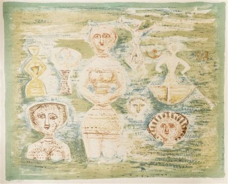 Litografia Campigli - Le Bagnanti