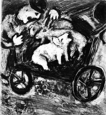 Acquaforte Chagall - Le Berger et son Troupeau