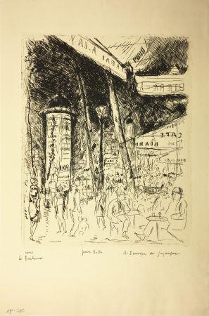 Acquaforte De Segonzac - LE BOULEVARD MONTPARNASSE. Pour Bubu, 1929.