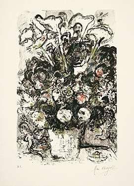 Litografia Chagall - Le bouquet blanc