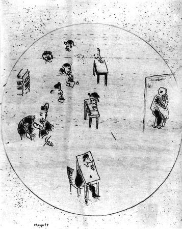 Acquaforte Chagall - Le Bureau Des Contrats