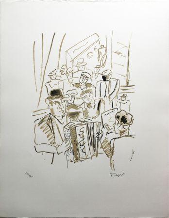 Litografia Leger - LE CAFÉ ou L'ACCORDÉONISTE (La Ville, Paris 1959)