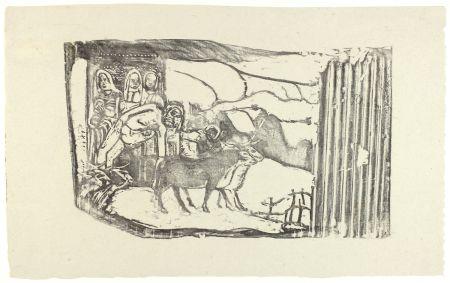 Incisione Su Legno Gauguin - Le Calvaire Breton