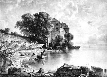 Litografia Fontanesi - Le château de Glérolles (Lac de Genève)
