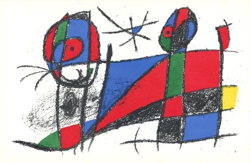 Litografia Miró - Le chat heureux / The Happy Cat