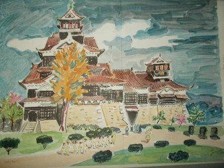 Litografia Brayer - Le chateau de Kumamoto