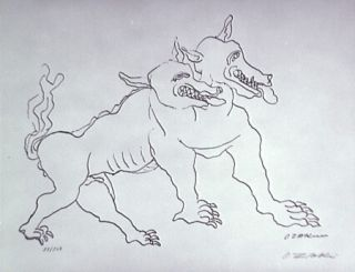 Litografia Zadkine - Le chien de Gerion (b)