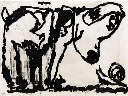 Acquatinta Pincemin - Le chien et l'escargot. Épreuve rehaussée à la gouache (1990)