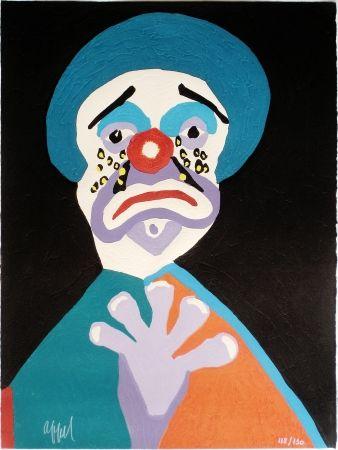 Incisione Su Legno Appel - Le Clown aux Larmes d' Or
