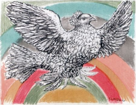 Litografia Picasso - Le Colomb Volant  - The Flying Dove With A Rainbow