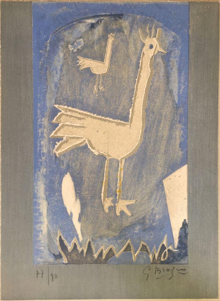 Litografia Braque - Le Coq (frontispice pour Verve n° 27/28 1953)