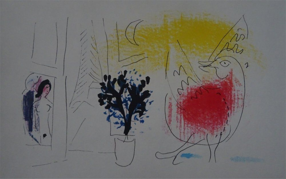 Litografia Chagall - Le Coq rouge