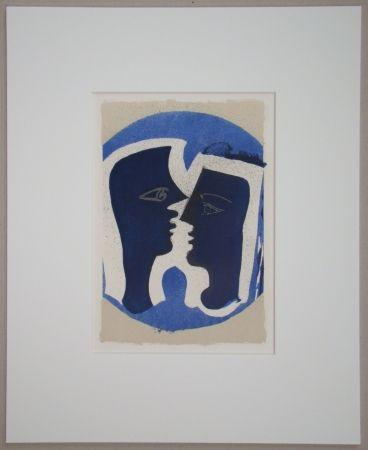 Litografia Braque - Le Couple - Lettera Amorosa