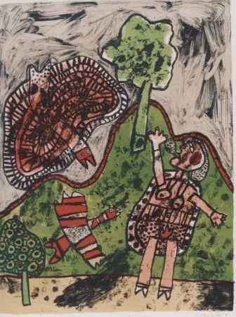 Litografia Corneille - Le dialogue avec l'arbre