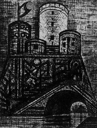 Acquaforte Gromaire - Le donjon de Dunsinane