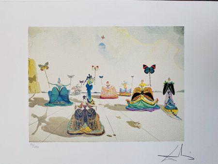 Litografia Dali - Le donne con le farfalle