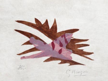 Litografia Braque - Le Feuille Morte From Lettera Amorosa, 1963