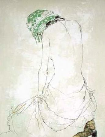 Litografia Jansem - Le Foulard Vert