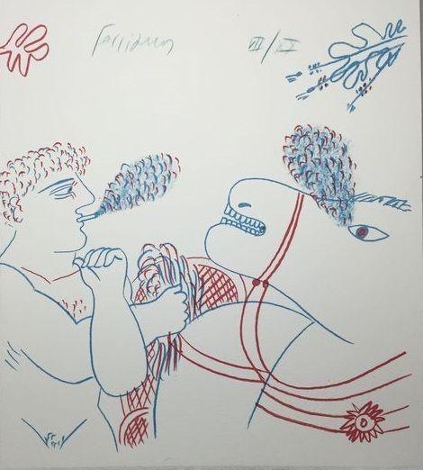 Litografia Fassianos - Le fumeur de cigarettes et le cheval