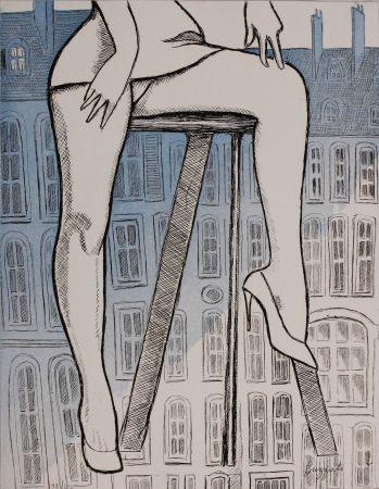 Acquaforte E Acquatinta Buzzati - Le gambe di Saint Germain