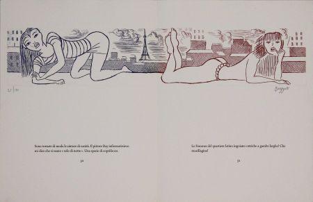 Acquaforte Buzzati - Le gambe di Saint Germain