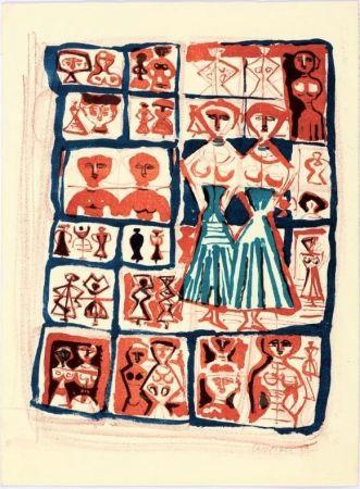 Litografia Campigli - Le Gemelle