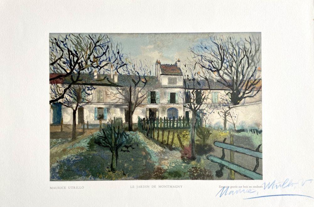 Incisione Su Legno Utrillo - Le Jardin de Montmagny