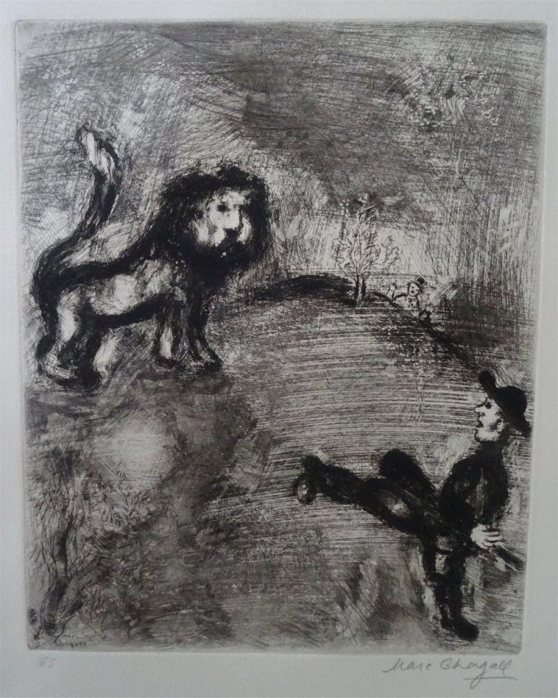 Acquaforte Chagall - Le Lion et les Chasseurs