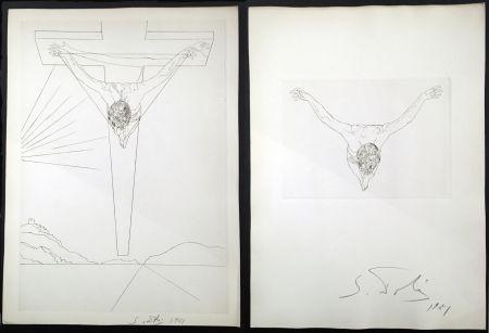 Incisione Dali - LE MANIFESTE MYSTIQUE. Les 2 gravures signées. Christ de saint Jean de la Croix