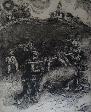 Acquaforte Chagall - Le Meunier, son fils  et l'Ane