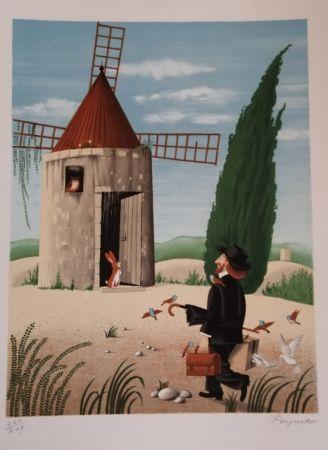 Litografia Peynet - Le Moulin de Daudet