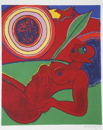 Litografia Corneille - Le nu rouge en été