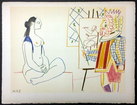 Litografia Picasso - Le Peintre Costumé Et Son Modèle (De La Comédie Humaine - Verve 29-30. 1954)