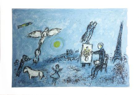 Litografia Chagall - LE PEINTRE ET SON DOUBLE (Épreuve à plat sur Arches). 1981.