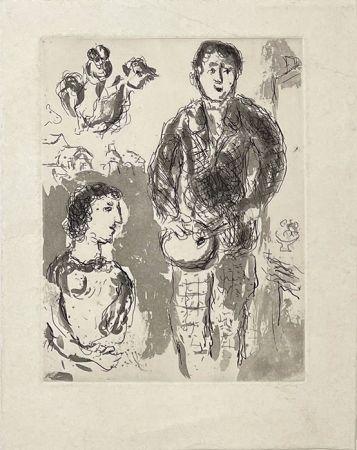 Incisione Chagall - Le peintre et son modèle